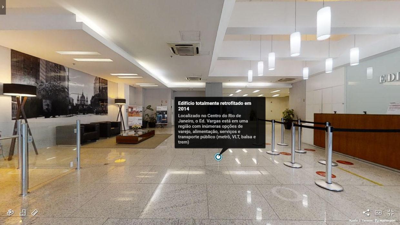 Tag de destaque em lobby de edifício comercial no Rio de Janeiro