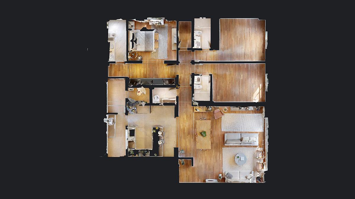Visualização de uma planta baixa mobiliada de apartamento
