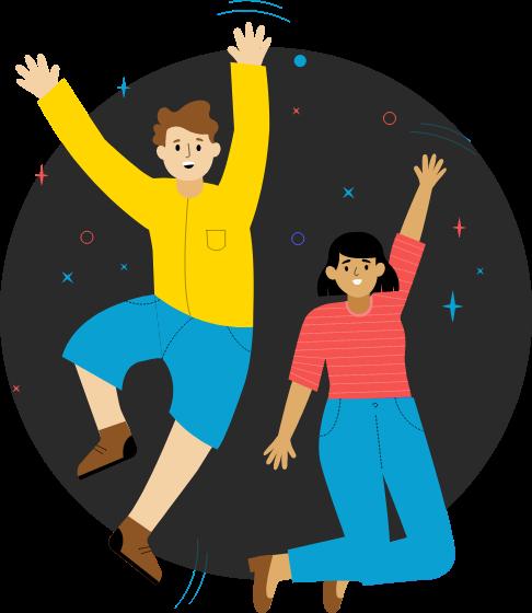 Ilustração de duas pessoas felizes